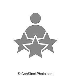 qualità, uomo, favorites, controllo, tre, utente, stelle, revisioni, aggiungere, icon., grigio, simbolo, feedback, valutazione