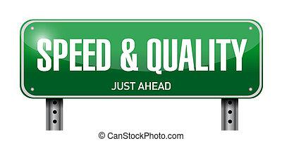 qualität, geschwindigkeit, straße, abbildung, zeichen