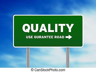 qualität, straßenschild
