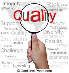 qualität, wort, in, vergrößerungsglas, hintergrund