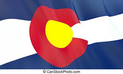 qualité, élevé, drapeau, colorado., illustration, render., soie, 3d, onduler