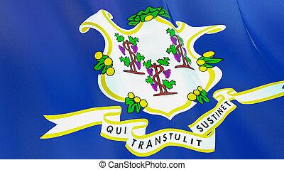 qualité, élevé, drapeau, illustration, render., connecticut., soie, 3d, onduler