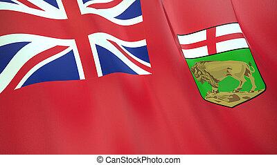 qualité, élevé, drapeau, illustration, render., manitoba., soie, 3d, onduler