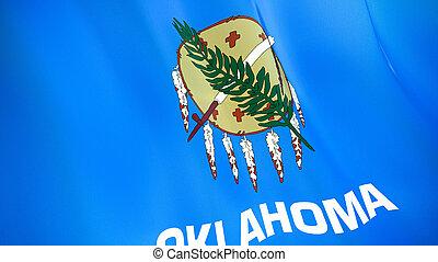 qualité, élevé, drapeau, illustration, render., soie, 3d, oklahoma., onduler