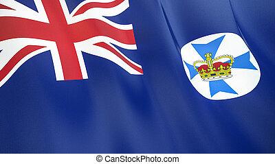 qualité, élevé, drapeau, illustration, render., soie, 3d, queensland., onduler