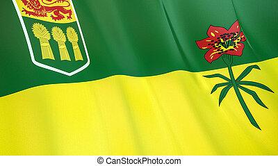 qualité, élevé, drapeau, illustration, render., soie, 3d, saskatchewan., onduler
