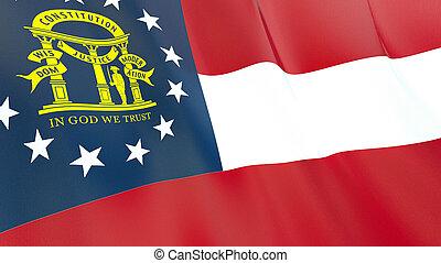 qualité, élevé, georgia., drapeau, illustration, render., soie, 3d, onduler