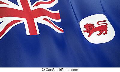 qualité, élevé, tasmania., drapeau, illustration, render., soie, 3d, onduler
