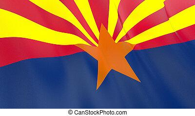 qualité, arizona., élevé, drapeau, illustration, render., soie, 3d, onduler