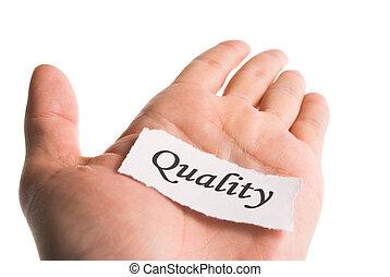 qualité, mot, main