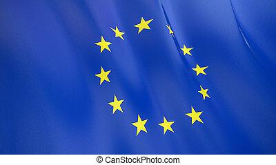 qualité, union., élevé, drapeau, illustration, européen, render., soie, 3d, onduler
