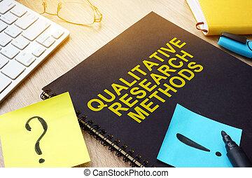 qualitativo, ricerca, metodi, e, appiccicare, su, uno, desk.