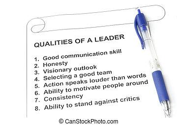qualities, od, niejaki, lider