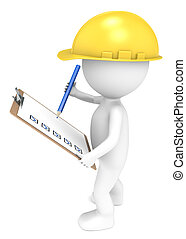 3D little human character The Builder holding a Clip Board and a Pencil. Blue and Yellow. People series.