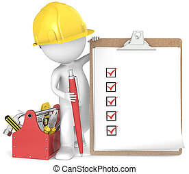 3D little human character the Builder holding a clipboard and pen. People series.