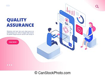 Quality assurance concept. Assured result productive decision analysis inspection software fixing bug system testing vector web page