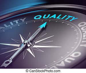 Quality Assurance Concept - Compass needle pointing the blue...