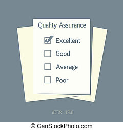 Quality assurance control checkbox on paper. vector. eps10