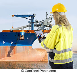 Quality assurance manager inspecting a dredging vessel -...