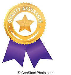 Quality assurance ribbon illustration design isolated over a white background