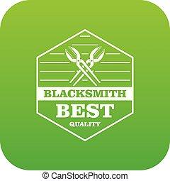 Quality blacksmith icon green vector