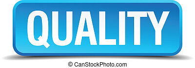 Quality blue 3d realistic square isolated button