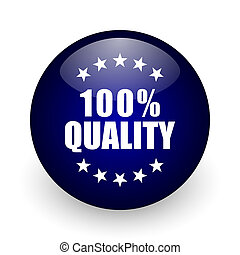 Quality blue glossy ball web icon on white background. Round 3d render button.