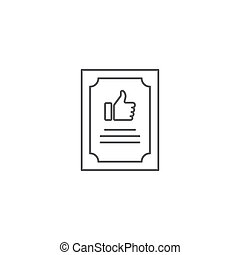 Quality certificate vector icon, isolated on white background