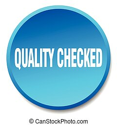 quality checked blue round flat isolated push button