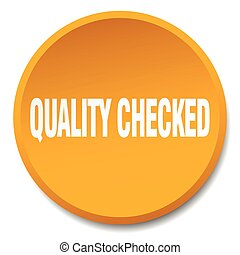 quality checked orange round flat isolated push button