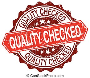 quality checked red round grunge stamp on white