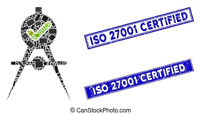 Quality Confirmation Mosaic and Scratched Rectangle ISO 27001 Certified Stamp Seals