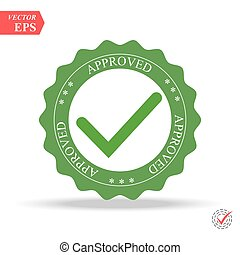 Quality Control Approved. Tick symbol in green color, vector illustration. Approved stamp
