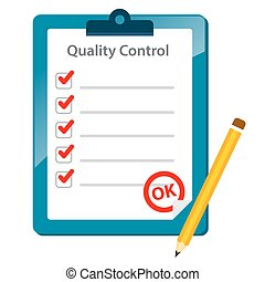 Quality Control Check Board With Pencil