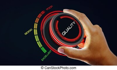 Quality Control Concept with knob button changing value Excellent to Poor  and reverse