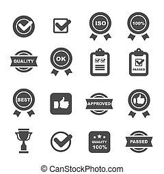 quality control icons set, symbols