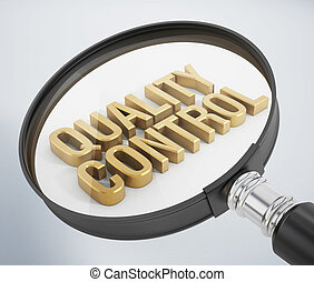 Quality Control - Magnifying glass standing on quality ...