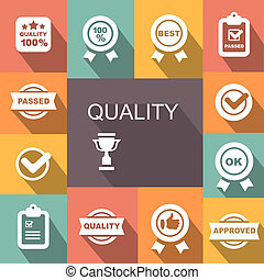 Quality control related icon set