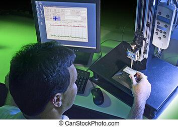 Quality control technician - unidentifiable operator testing...