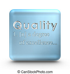 Quality definition icon - Quality definition engraved into a...