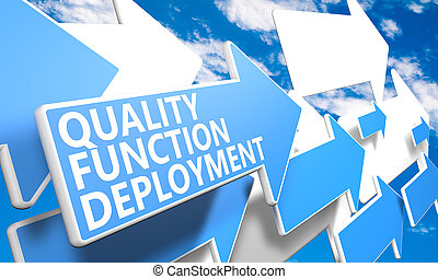 Quality Function Deployment 3d render concept with blue and ...