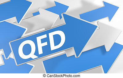 Quality Function Deployment 3d render concept with blue and...