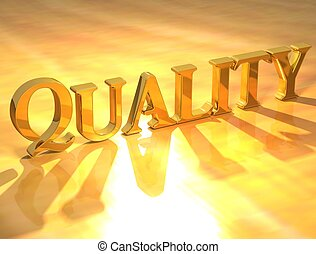 Quality Gold Text - 3D Quality Gold Text on yellow...