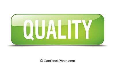 quality green square 3d realistic isolated web button