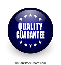 Quality guarantee blue glossy ball web icon on white background. Round 3d render button.
