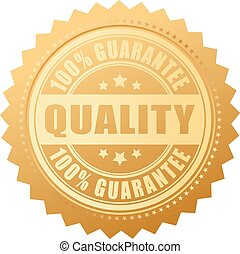 Quality guarantee certificate isolated sign on white background