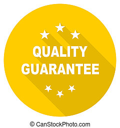 quality guarantee flat design yellow web icon