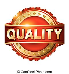 Quality guarantee golden label with ribbon.