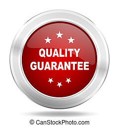 quality guarantee icon, red round glossy metallic button, web and mobile app design illustration