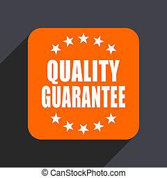 Quality guarantee orange flat design web icon isolated on gray background